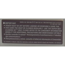 Super Nintendo Caution Label [Made in Mexico]